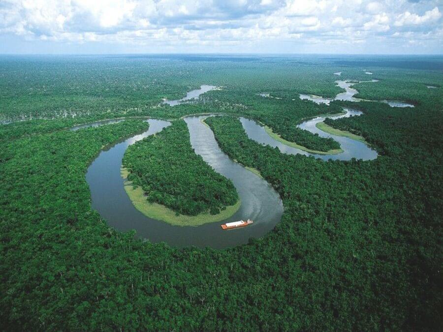 Boat on Amazon river