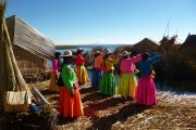 Local women in traditional dresses