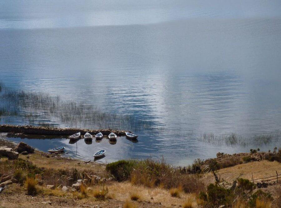 Vissersbootjes Isla del Sol Titikaka