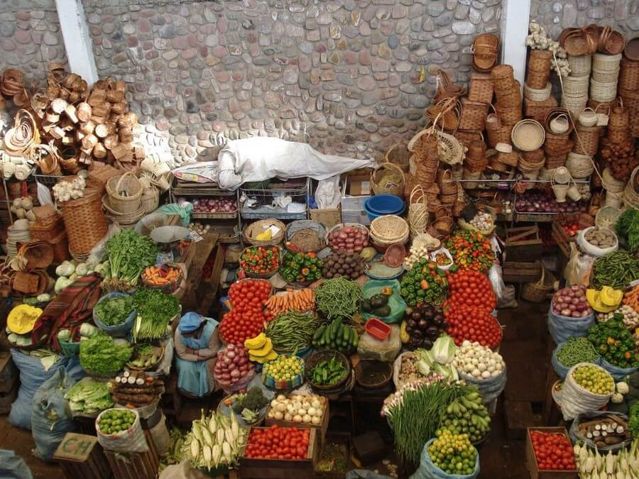 Local vegetable market in Sucre