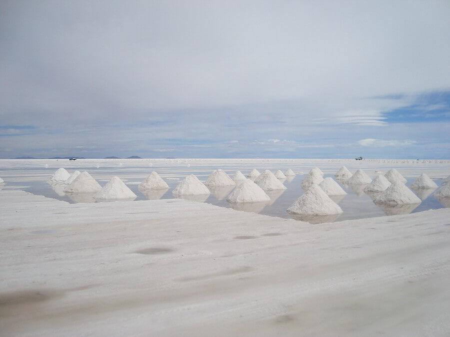 Salt piles on the Salar de Uyuni