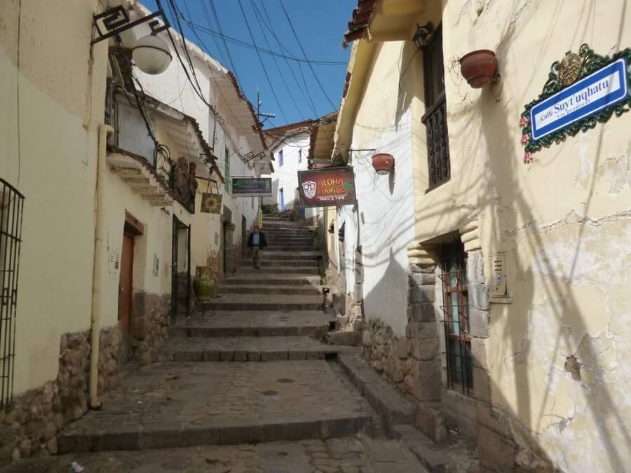 Steep old streets in Cusco