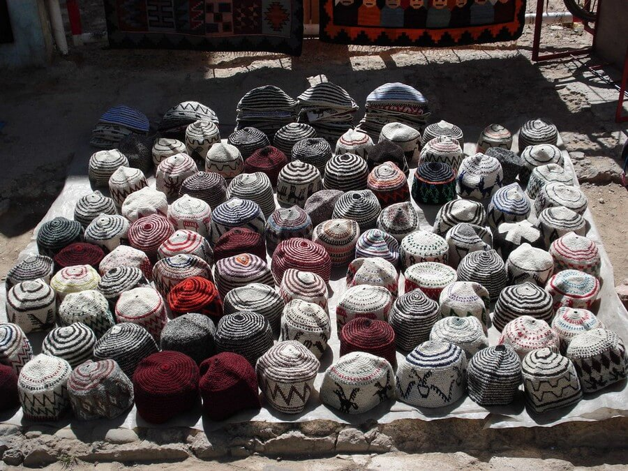 Selling traditional hats in Tarabuco