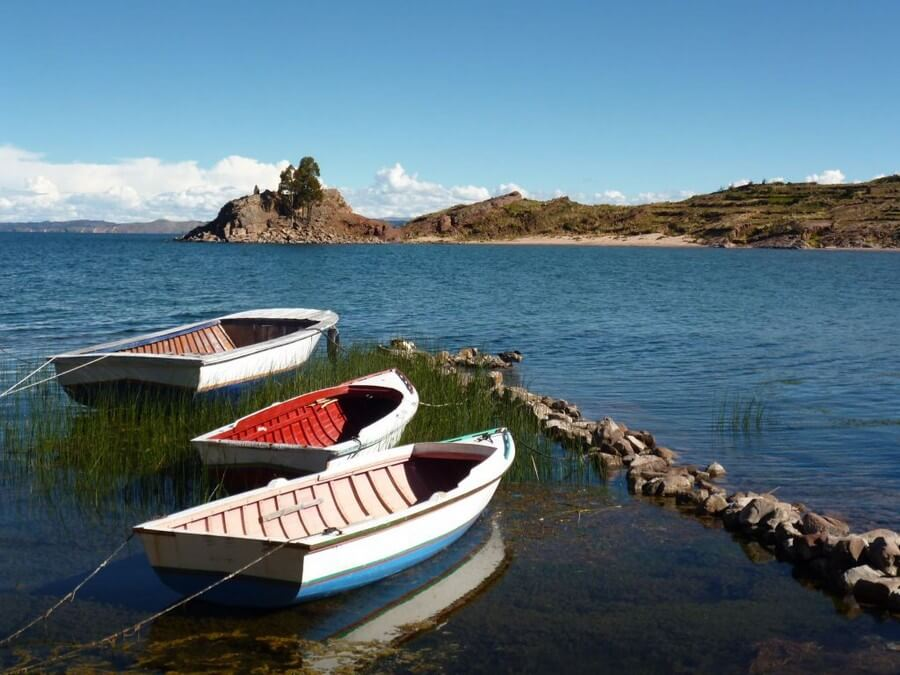 Boats on Taquile Island