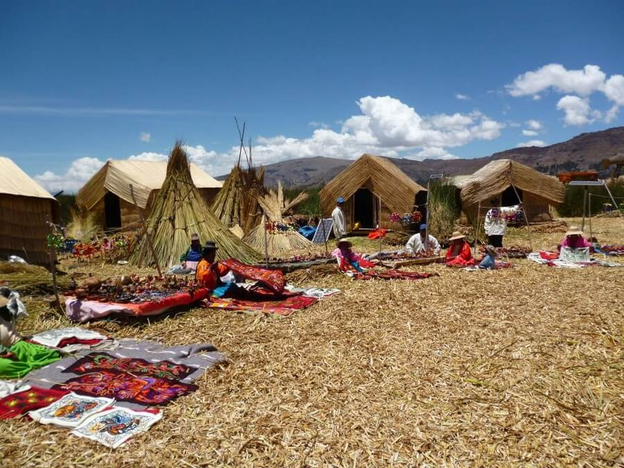 Floating reed islands in Lake Titicaca