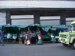 Selling coca leaves on market
