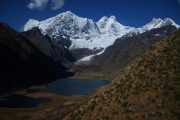 Snowcapped mountains on Huayhuas Trek