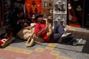 Playing pan flute at the market