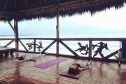 Yoga class at Pacific Ocean