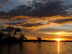 Sunset over Laguna Grande