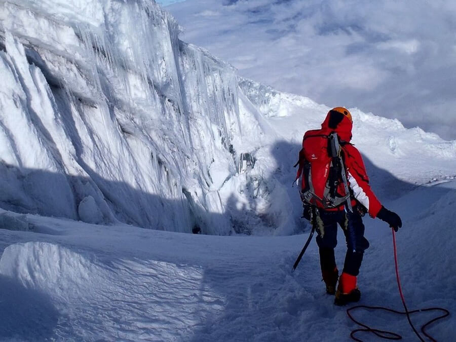 Ice climbing on Cotopaxi Volcano