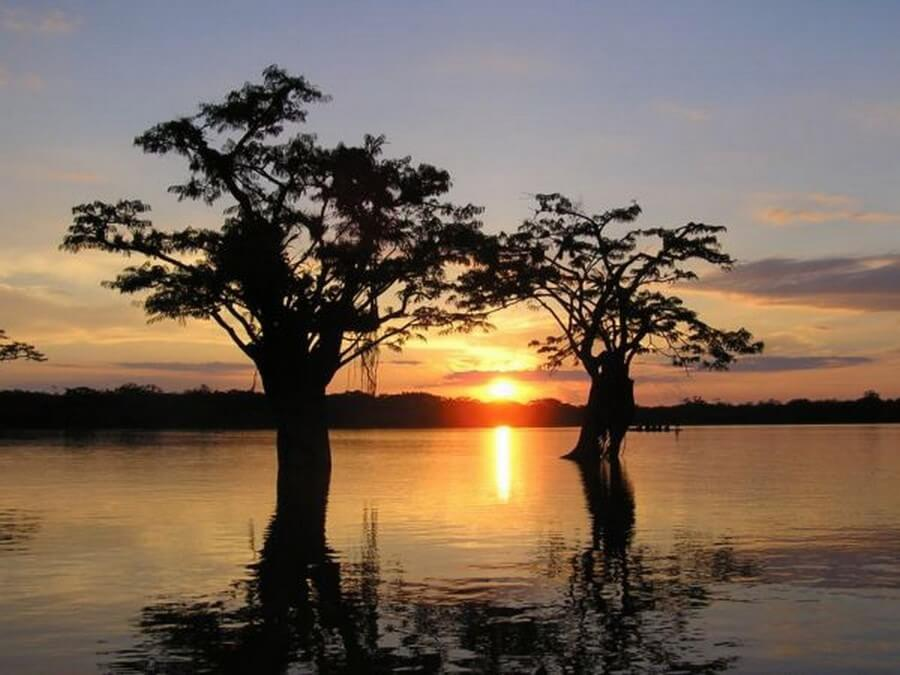 Sunset at Lago Grande, Cuyabeno