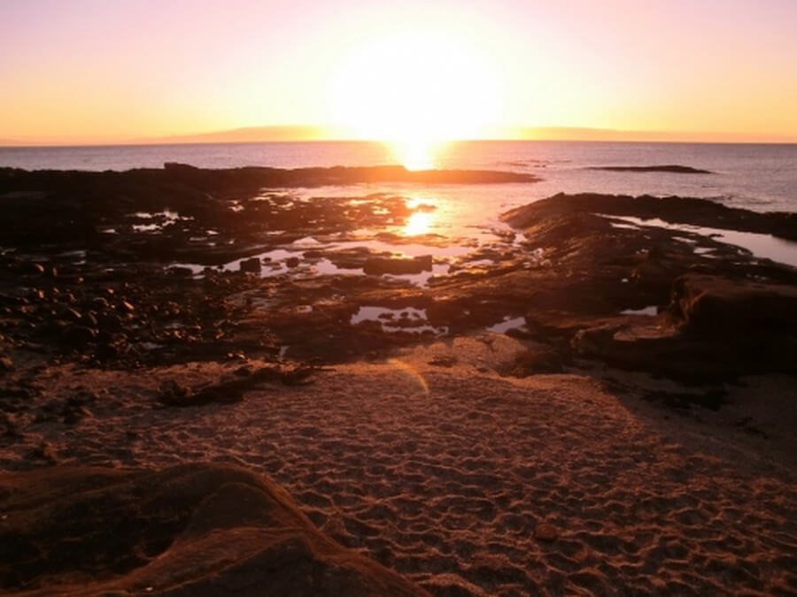 Sunset on the Galapagos beach