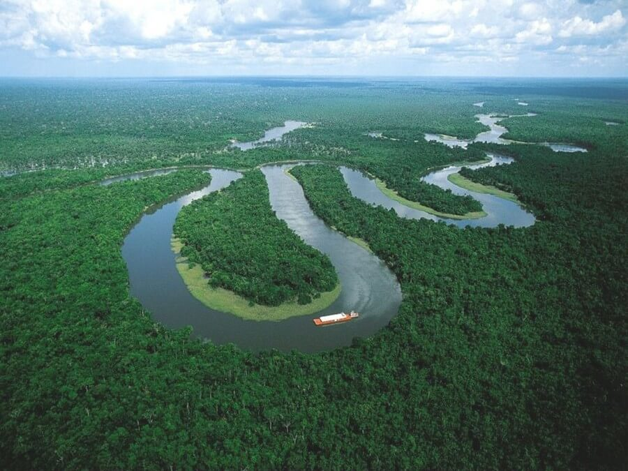 Boat in the Amazon River
