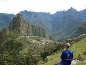 Solo traveler at Machu Picchu