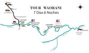 Huarani kayak tour map